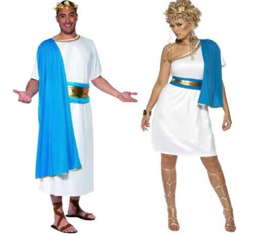 Couples Mens AND Ladies Roman Toga Party Historical Fancy Dress Costumes Outfits