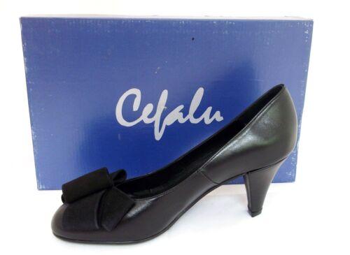 Ladies Uk Court Shoes Black Heels Leather 3 Womans Eur 36 Cefalu 1wpqw