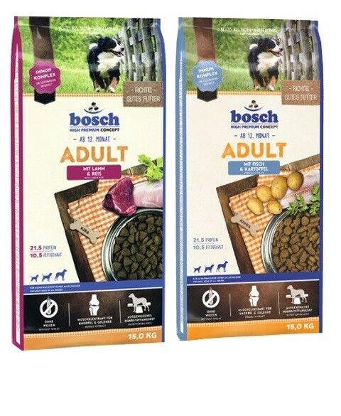 15kg BOSCH Adult Agnello & Riso  15kg BOSCH ADULT PESCE & PATATE cibo per cani