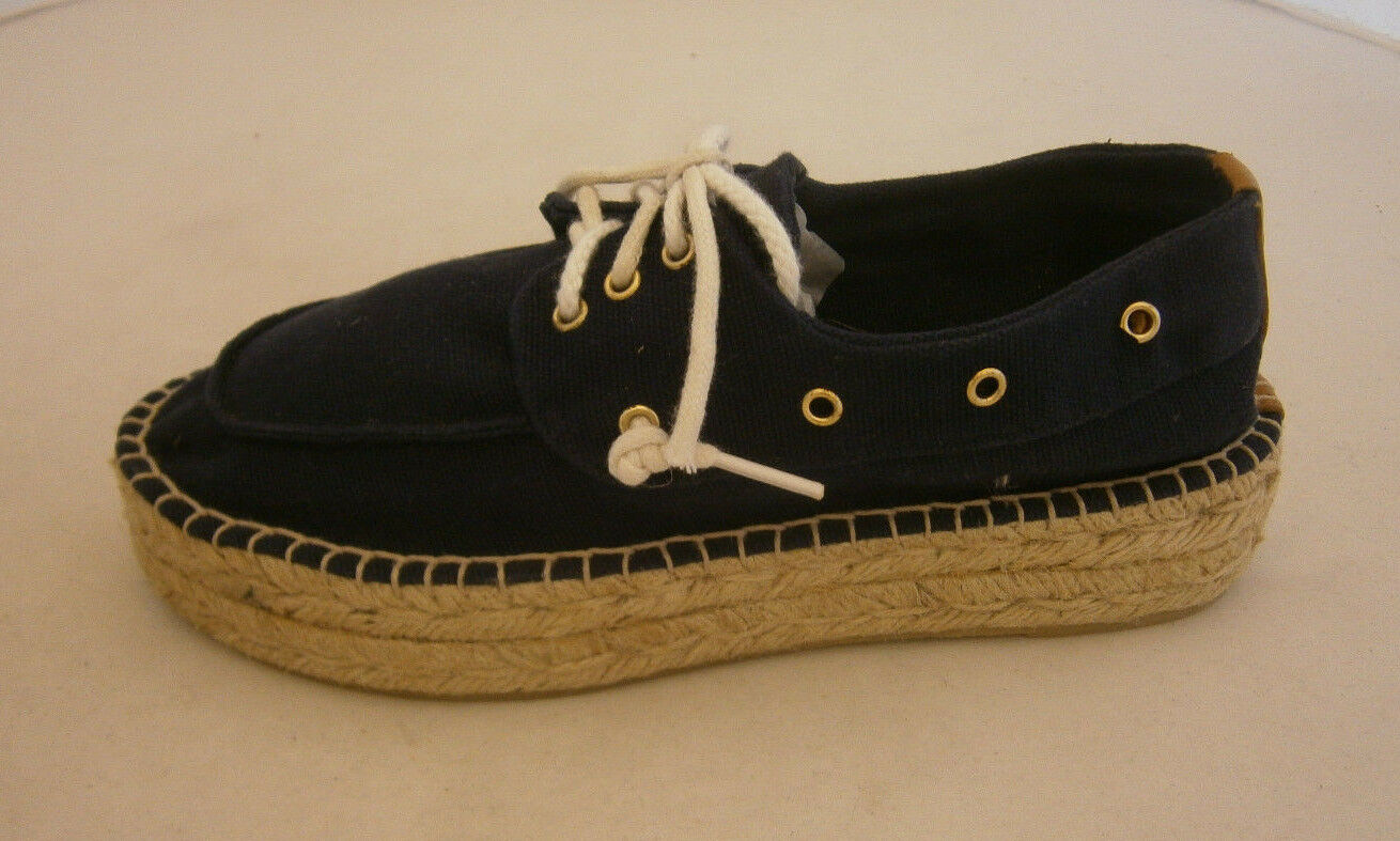 TORY BURCH ESPADRILLE Scarpe SNEAKERS blu CANVAS LACINGS  SIZE 6 NEW   LACINGS 6a77ac