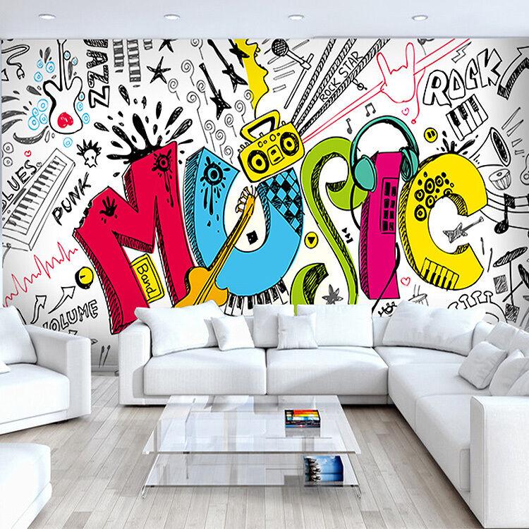 3D Graffiti Instrumente 096 Fototapeten Wandbild Fototapete BildTapete FamilieDE
