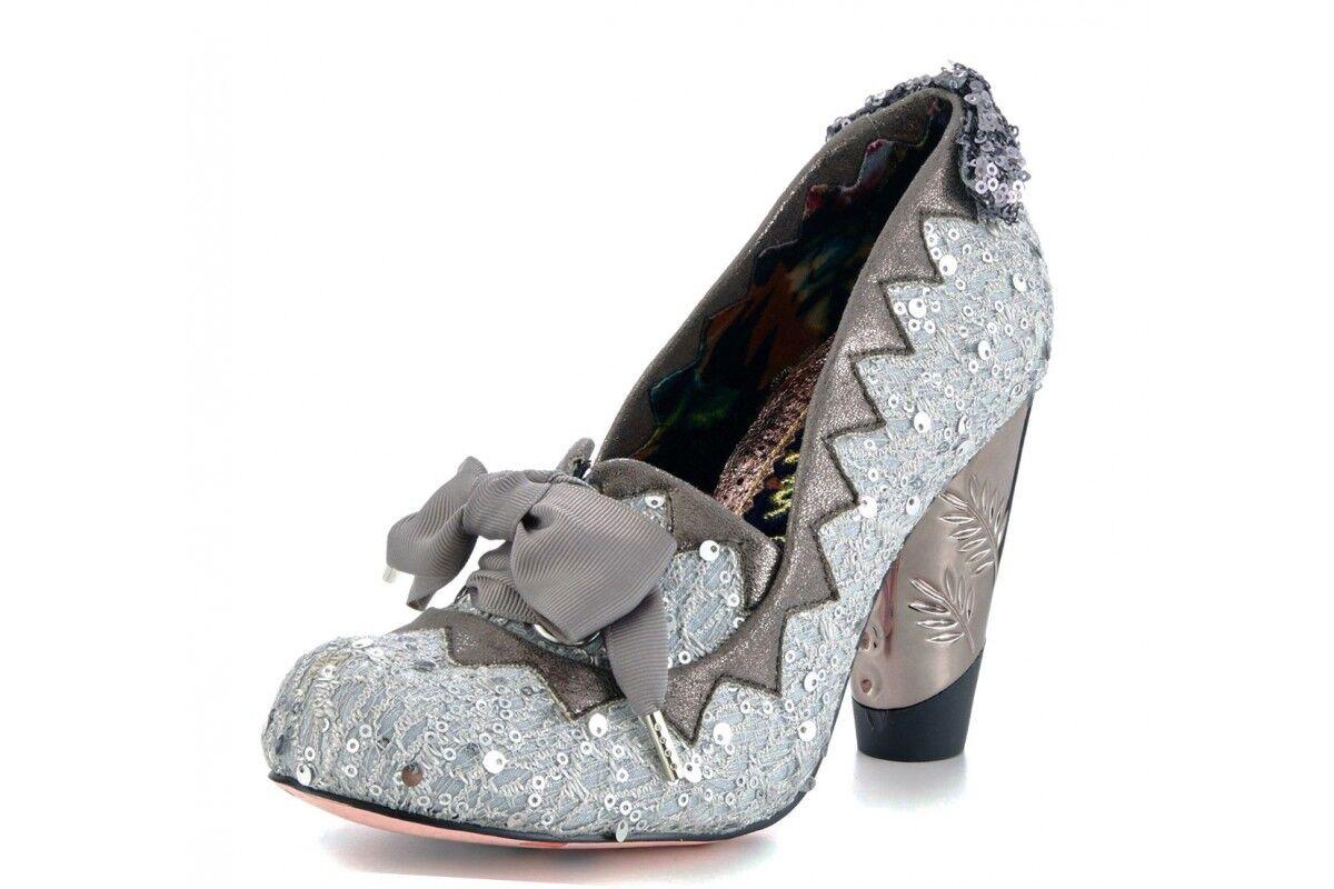 Donna Irregular Choice BOLLE gomma stivali argento tacchi alti stivali gomma caviglia NUOVO 062307