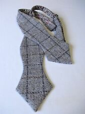 Scottish Tweed Grey/Fawn Check Wool Self tie Bow tie/Liberty print lining