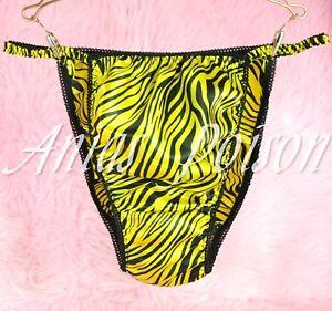 a8d9fa67eb Sissy Panties Yellow Zebra stripe Animal print Satin string bikini ...