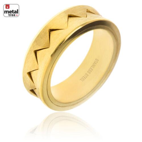 Men/'s Women/'s 8 MM Stainless Steel Rapper Zig Zag Pattern Design Thick Rings