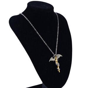 Leuchtender-Drache-Anhaenger-mit-Schwert-auf-dem-Halskette-Gold-Silber-Kette-ye