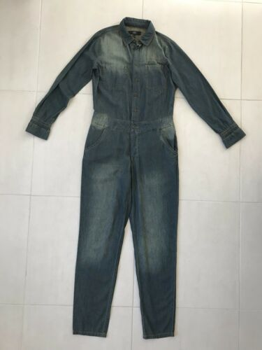 ABS Women Sz S Jumpsuit Boilersuit Chambray Denim