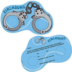 Das Bild Wird Geladen 6 Einladungskarten POLIZEI Fuer Kindergeburtstag  Geburtstag Handschellen Detektiv