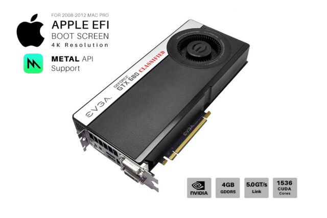  NVIDIA GTX 680 Classified 4GB GPU for Apple Mac Pro: CUDA METAL Support  and 4K