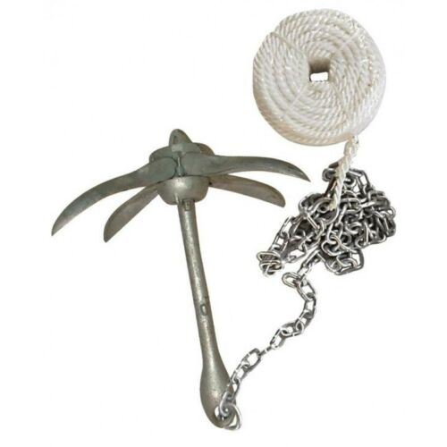 Boatworld 4KG Galvanised Grapnel Anchor Kit for Large Dinghys//Ribs//Sports Boats