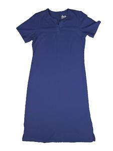 New-35-value-Denim-amp-Co-Size-PS-Blue-Sht-Slv-Split-V-Perfect-Jersey-Maxi-Dress
