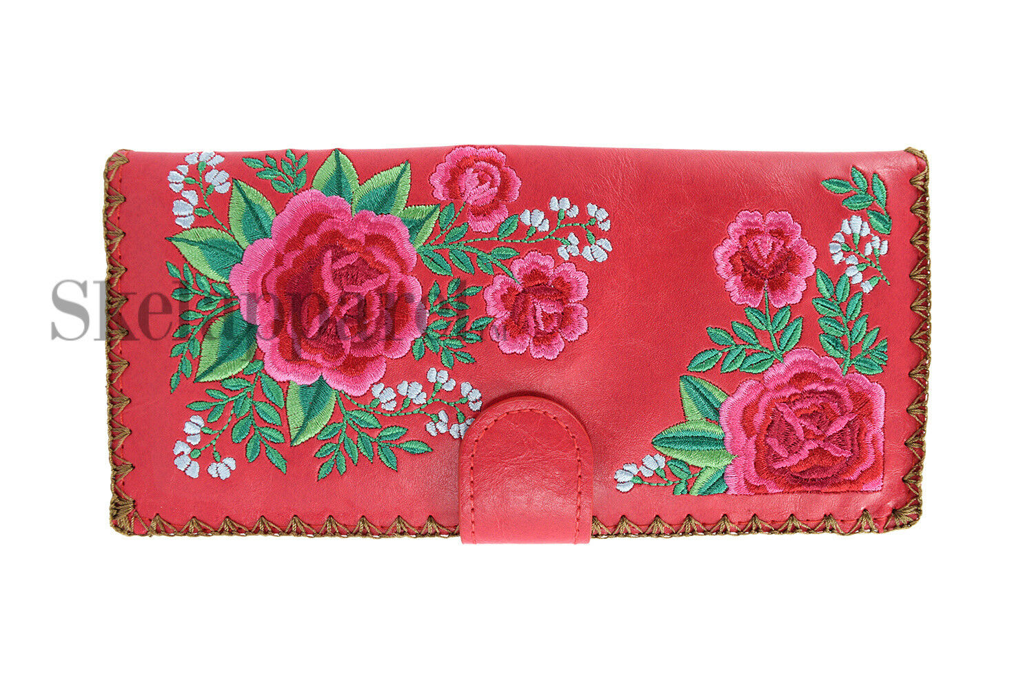 Lavishy Wallet - Pink Roses Bouquet Floral Embroidery wallet