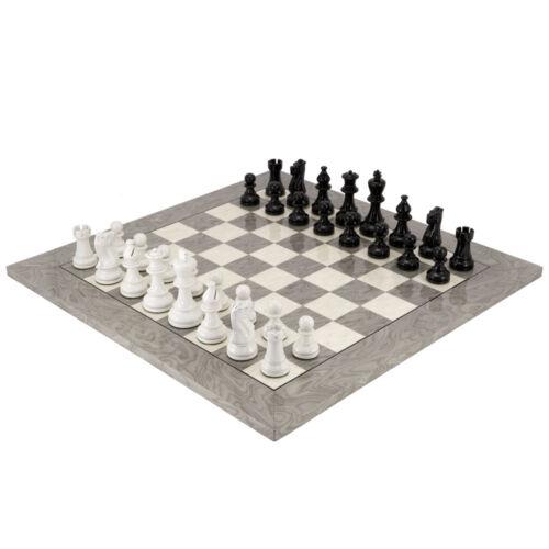 Atlantic Black and White Burl Chess Set