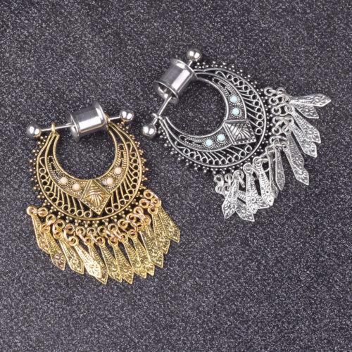 1 Pair 6-12mm Stainless Steel Drop Dangle Ear Gauges Plugs Piercing Jewelry
