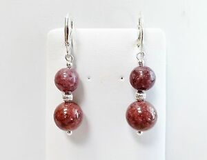 Image Is Loading Beautiful Genuine Deep Red Rhodonite Earrings In All