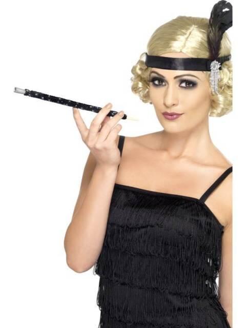 Negro con Lentejuelas Cigarrillo Soporte, Flapper, 1920'S Disfraz