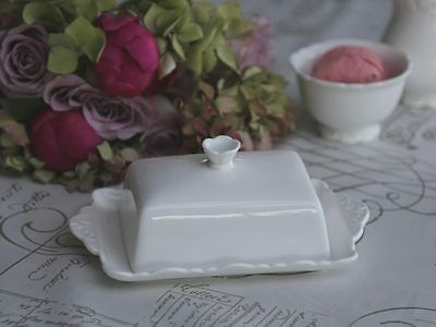 Chic Antique Provence Butter Dish White Shabby Vintage Porcelain 5 1//8x7 7//8in
