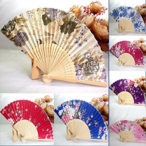 Chinese-Cherry-Peony-Ink-Style-Silk-Folding-Hand-Fan-Wedding-Stage-Party-Props