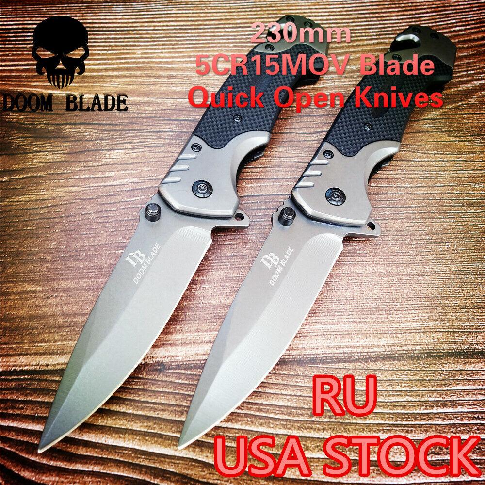 1PCS Quick Open Knifes Folding Knife Pocket Knives Tactical Survival G10 Handle
