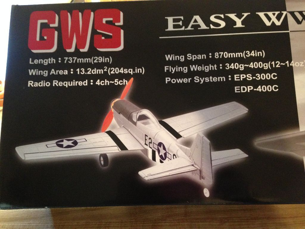 New R C GWS P-51D Mustang Warbird ARF With Motor