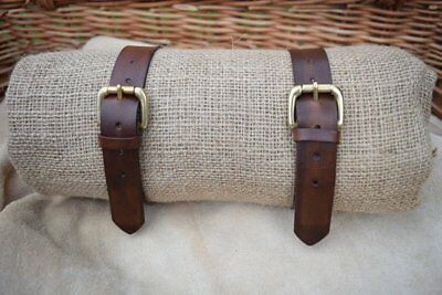 "1/"" UTILITY STRAP LEATHER Tie Down 25mm wide SOLID BRASS BUCKLE VARIOUS LENGTHS"