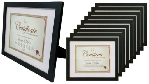 Frame Amo 11x14 Black Certificate Frame 1 inch Wide,1,3,10 PACK Mat for 8.5x11