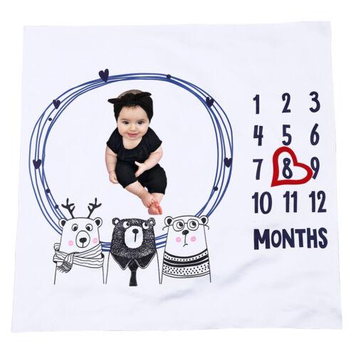 3pcs Nette Baby Fotografie-Decke Baumwolle Meilenstein Decke Herzrahmen