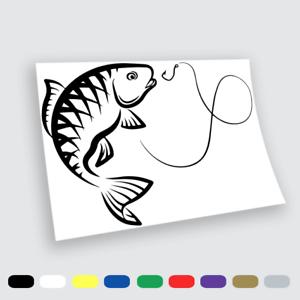 Adesivi in vinile Wall Stickers Prespaziati Pesca carpa fish amo Auto Notebook