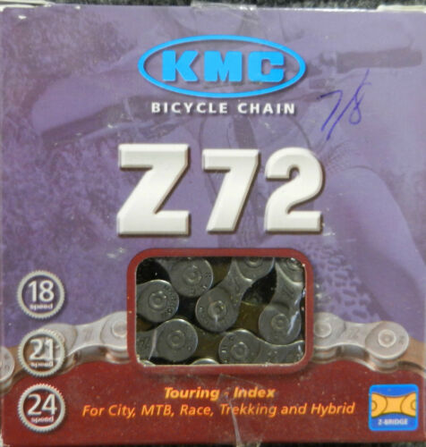 New KMC Z72 grey 3//32 bicycle chain suitable for up to 8 speed indexed systems