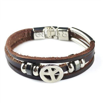 Mens Ladies Unisex Real Genuine Leather Braided Bracelet Wristband Brown Black