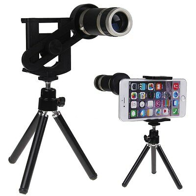Universal 8X Optical Telescope Zoom Camera Lens + Tripod Holder Fr Various Phone