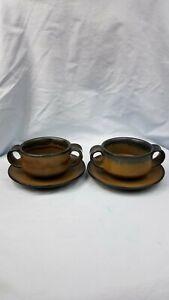2-Stoneware-Soup-Mugs-Bowls-amp-Plates-Dual-Handles-Earth-Tone-Rustic-Primitive