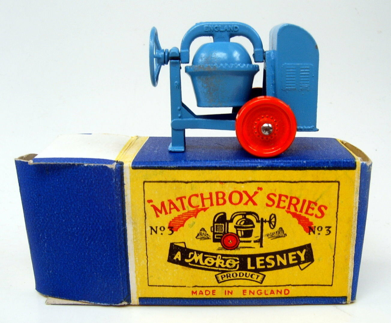 Matchbox RW 03 A cement Mixeur Bleu & Orange Top en parfaite  A  BOX 1953