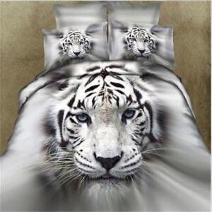 3D-Animal-White-Tiger-Sets-de-couette-couette-housse-couette-couverture-ensemble-de-literie