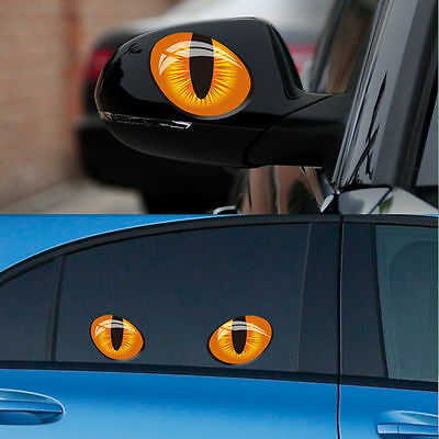 3D Funny Cat Evil Eyes Car Stickers Cute Car Vinyl Stickers Decal Window Mirror