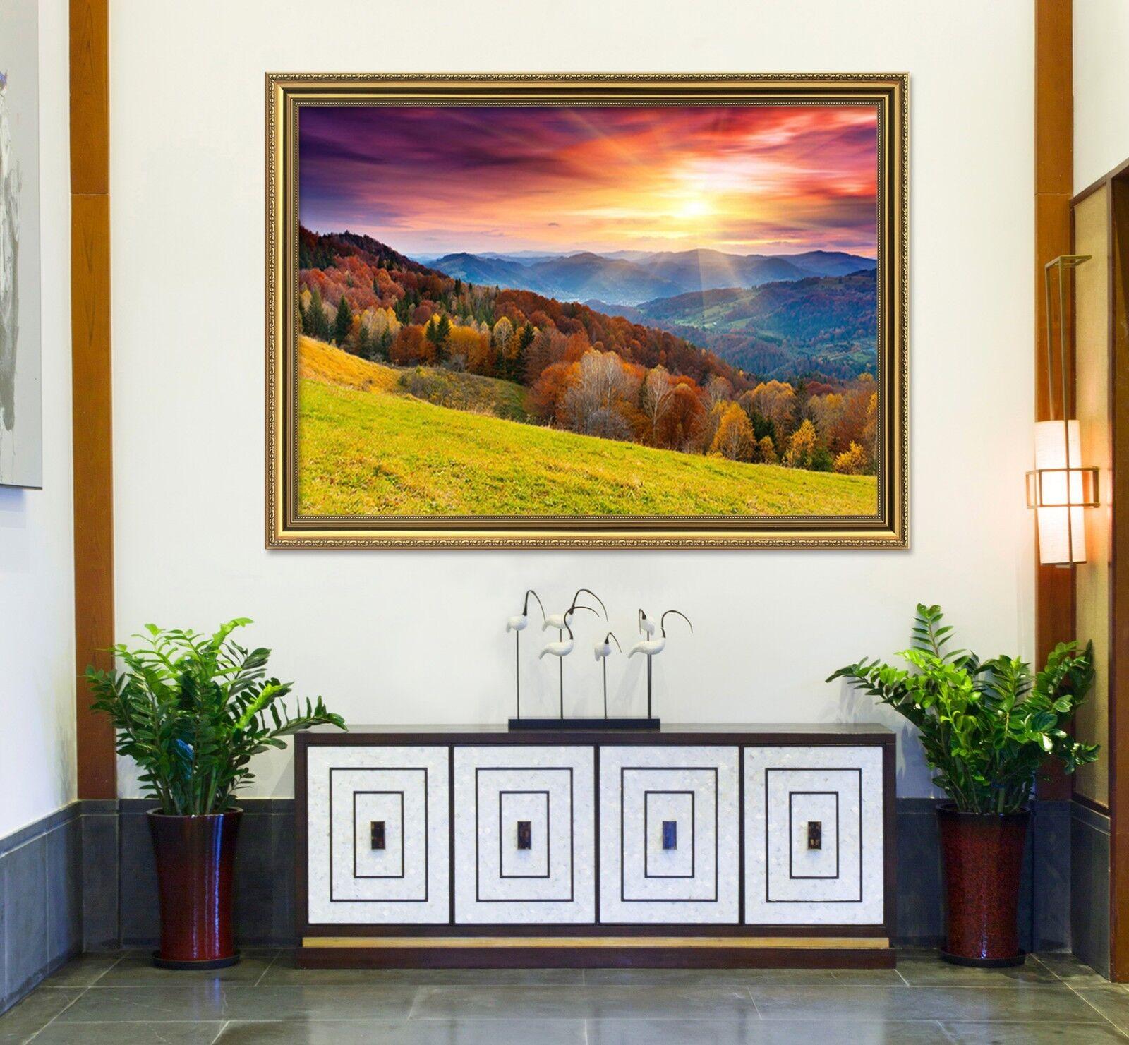 3D puesta de sol Campo 52 Enmarcado Póster Decoración del Hogar Pintura de Impresión Arte AJ Wallpaper