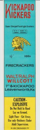 Vintage Kickapoo Kickers Leavenworth KS Firecracker Pack Label