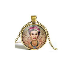 Vintage Frida Kahlo Cabochon bronze Glass Chain Pendant Necklace USA Shipper
