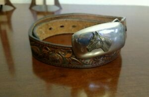 Nocona-Brown-Etched-Floral-Western-Leather-Horse-Silver-Tone-Buckle-Belt-25-29