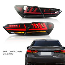 Smoked Led Tail Lights Fit 2018 2019 2020 2021 Toyota Camry Rear Lamps Assembly