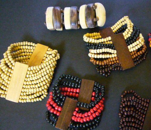 Africano etnico legno Bead STRETCH BRACELET BRACCIALETTO MASAI Fairtrade Craft Regalo