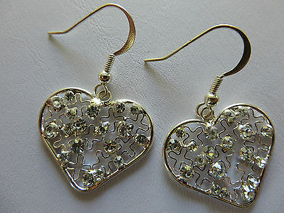 SILVER LOVE HEART WITH FILIGREE CROSS DESIGN DROP DANGLE EARRINGS new gift pouch