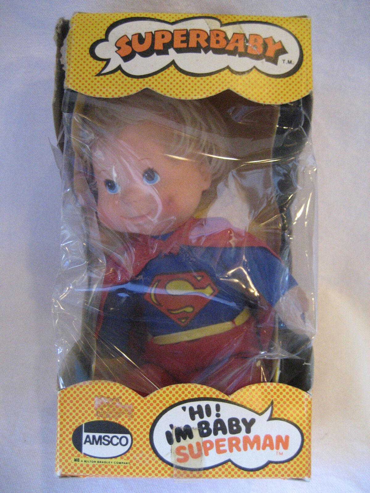 MIB 1976 vintage SUPERMAN Super Baby plush doll figure Amsco Super Babies DC