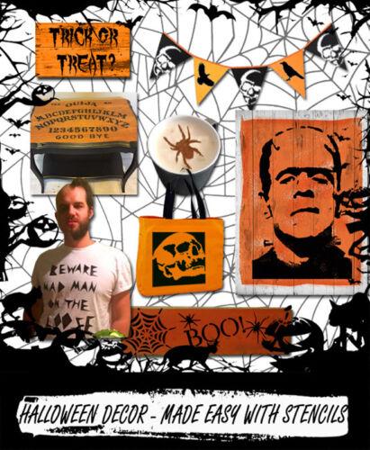 Plantilla De Halloween Zombie Miedo Decoración Artesanía Pintura de la cara cualquier superficie ideal Stencils