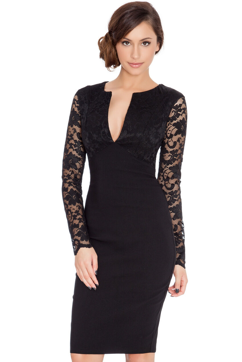GLAM Celeb Little schwarz Deep V Midi Stretch Cocktail Dress Rocks Boutique