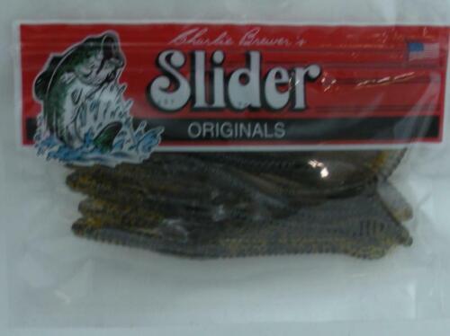 "Charlie Brewers SWG17 4/"" Slider Worm 12CT Pumpkin//Black Flake 24101"