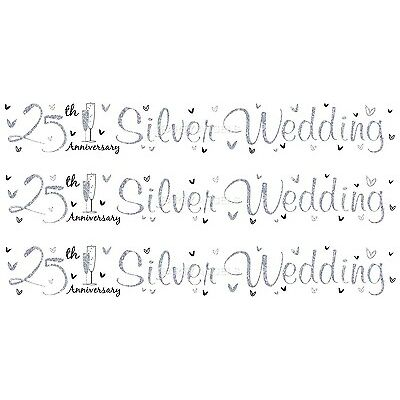 25TH SILVER WEDDING ANNIVERSARY WHITE AND SILVER FOIL BANNERS (SE)