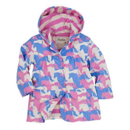 *BNWT* Hatley Girls Puzzle Piece Horses Pink Raincoat Rain Coat Pony Horse Cute