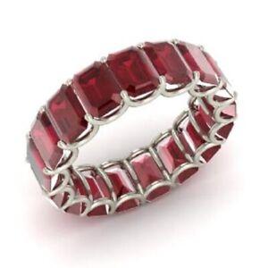 7.50 Ct Emerald Cut Diamond Engagement Ruby 14K White Gold Finish Eternity Band
