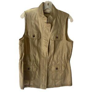 Chicos Womens Vest Khaki Zip Up Pockets Snap Buttons Jacket M 8/10 NWOT's